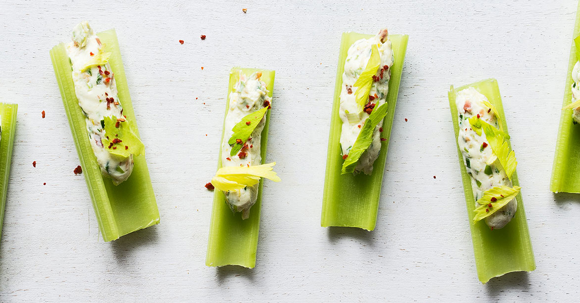 celery - Spicy Peanut Butter-Stuffed Celery Sticks